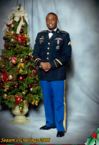 Corporal Daniel Ferrigon in Army Dress Blues on Christmas 2006