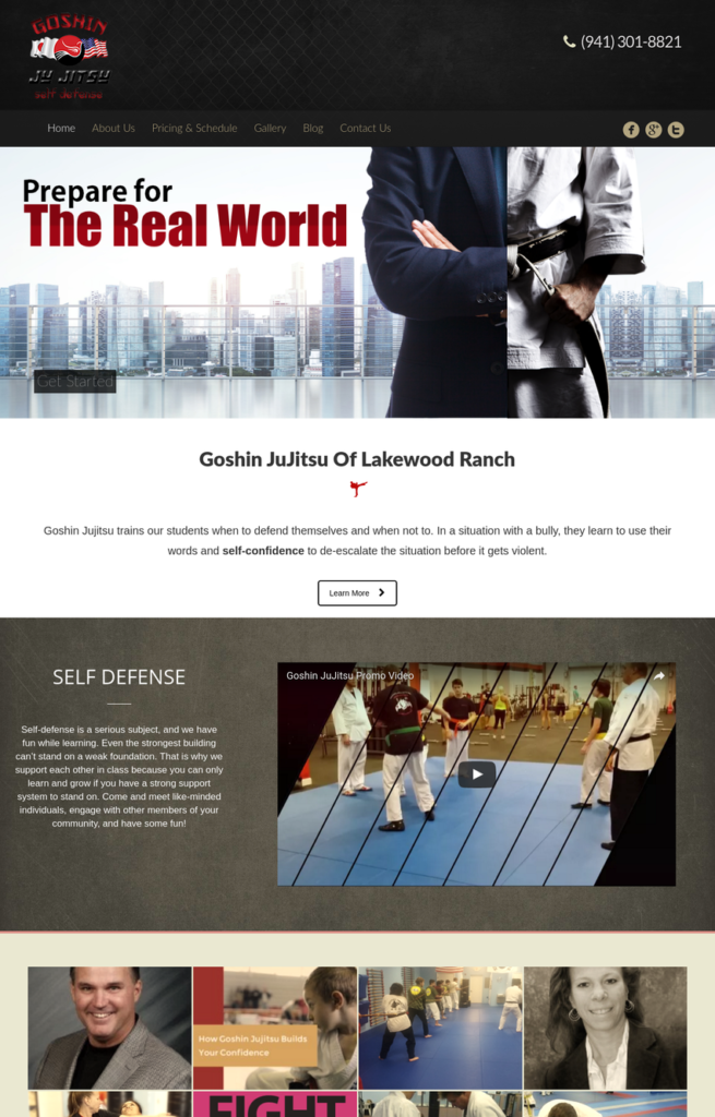 Goshin JuJitsu New Website Design